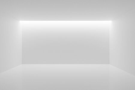 Empty white room with backwall lighting from the ceiling - gallery, product or modern interior template, 3D illustration Фото со стока