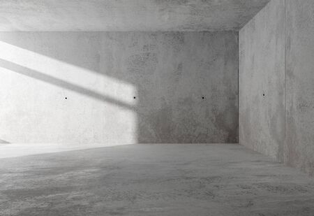 Abstract empty, modern concrete room with sidelit backwall from window and rough floor - industrial interior background template, 3D illustration