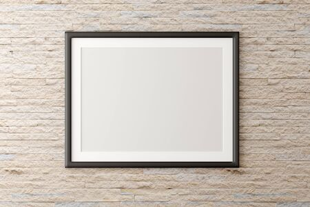 Empty picture frame hanging on brick stone wall with copy space - portfolio, gallery or artwork template mock up - 3D illustration