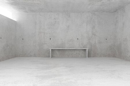 Abstract empty, modern concrete room with light from sky light window and concrete bench at the backwall - industrial interior background template, 3D illustration