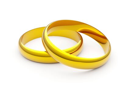 Two shiny golden wedding or marriage or engagement rings over white background - 3D illustration Banque d'images - 130754077