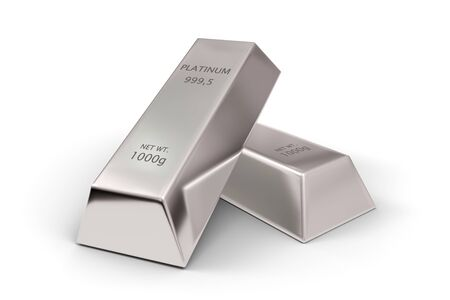 Two shiny platinum ingots or bars over white background - precious metal or money investment concept, 3D illustration 版權商用圖片