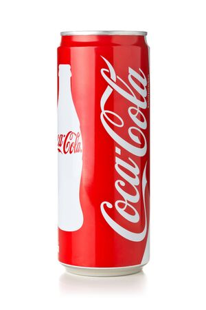 GERMANY - SEPTEMBER 25, 2019 : Coca cola soda beverage can with logo over white background