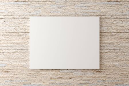 Empty picture frame canvas hanging on brick stone wall with copy space - portfolio, gallery or artwork template mock up - 3D illustration Фото со стока