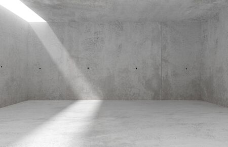 Abstract empty, modern concrete room with sidelit backwall and rough floor - industrial interior background template, 3D illustration