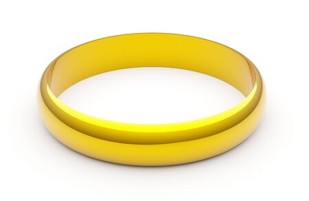 Single shiny golden wedding or marriage or engagement ring over white background - 3D illustration