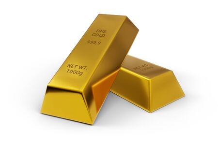Two shiny gold ingots or bars over white background - precious metal or money investment concept, 3D illustration 版權商用圖片