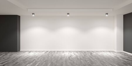 Empty white room with wooden floor and grey colored accent walls with spotlights on the back wall - gallery, product or modern interior template, 3D illustration Reklamní fotografie