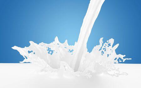 Milk poured, splashing into pool of milk isolated on blue background - 3D illustration