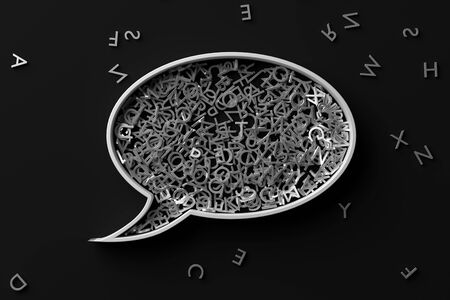 Speech bubble balloon shape filled with metal alphabetic character letters on dark background, literature, education, know-how or writing concept, 3D illustration