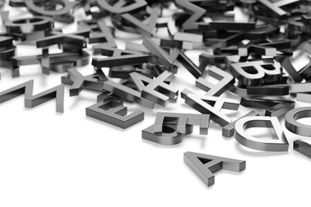 Heap of metal alphabetic character letters over white background, literature, education, know-how or writing concept, selective focus, 3D illustration