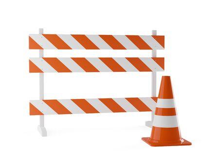 Single orange traffic warning cone or pylon with street barrier on white Imagens