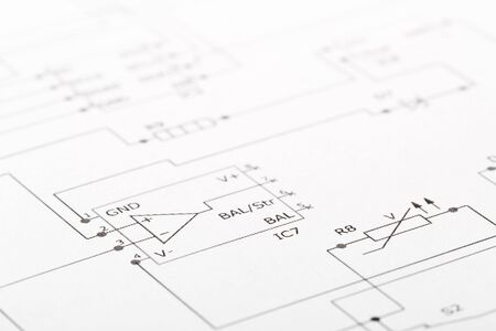 Close up of PCB wiring diagram circuit, selective focus