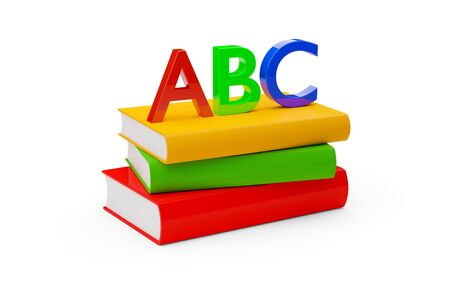 Orange, red, and green hardcover books with blank covers stacked over white