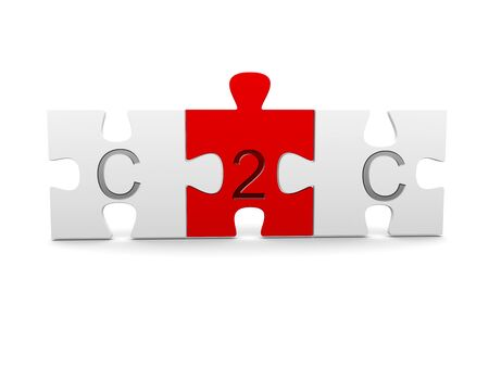 Three jigsaw puzzle pieces with C2C, consumer to consumer, text on white background - business networking concept, 3D illustration
