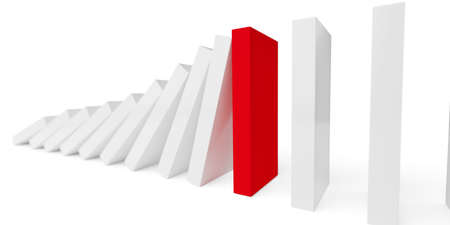 Row of falling domino stones stopped by red domino stone over white background, risk management, intervene or prevention concept, 3D illustration Imagens