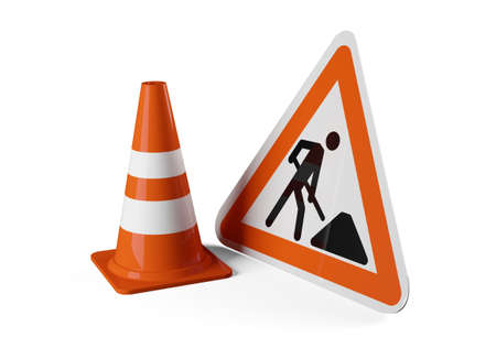 Single orange traffic warning cone or pylon with street or road construction sign on white background - under construction, maintenance or attention concept, 3D illustration Stockfoto