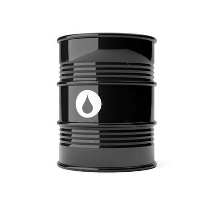 Single black metal oil barrel with drop symbol over white background, 3D illustration