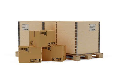 Wooden transportation crates on wooden pallet and carton cardboard boxes over white background, freight, cargo, delivery or storage concept, 3D illustration Foto de archivo
