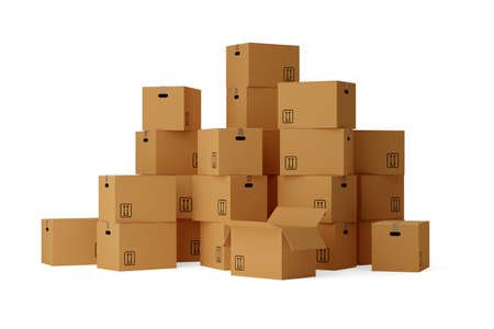 Stack of open and closed brown cardboard moving storage boxes over white background, moving day concept, 3D illustration
