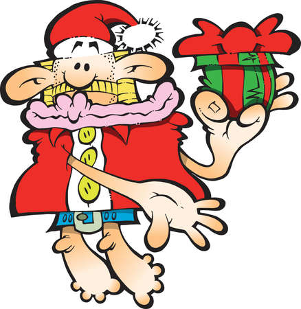 Silly Santa Claus presenting a gift