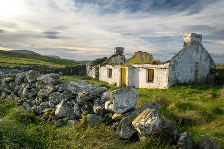 This is the ruins of an old abandoned Irish cottage in Donegal Ireland.  The thatched roof caved in years ago