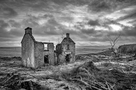 Ruines of an old Irish farm house in the Mountains of Doengal