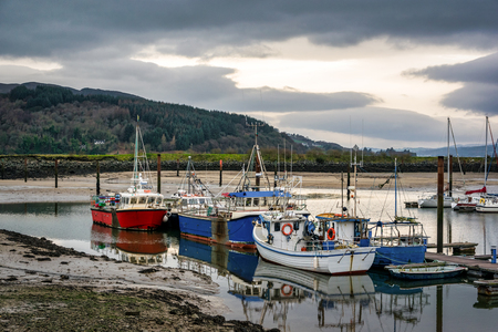 Fishing boats moored in harbor.  This is picture was taken in Donegal Ireland