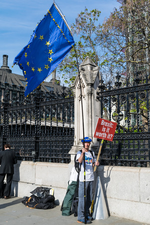 LONDON, UNITED KINGDOM - May 15, 2019: Anti Brexit protester outside the UK Parliament Building in London.