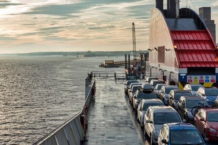 Liverpool, UK - Dec 29, 2019: The top car deck of the Ferry Stena Lagan docked in Liverpool at sunrise