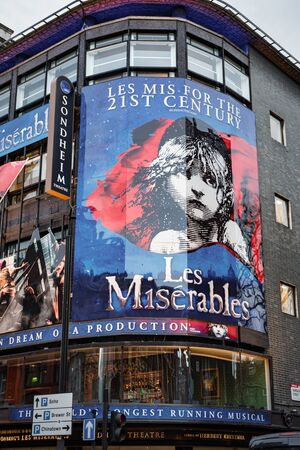 London, UK - Jan 16, 2020:  The front of the Sondheim Theatre hosting the musical Les Miserables Editorial