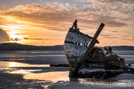 Old shipwreck called Bad Eddie. This was taken at low tide at sunset in Donegal Ireland