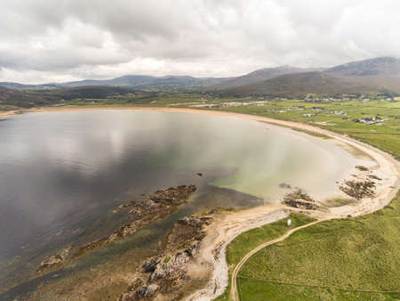 An Aerial picture of Tullagh bay and Beach in County Donegal Ireland Stock fotó