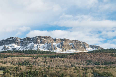 Binevenagh Mountatin in Northern Ireland covered in snow in winter