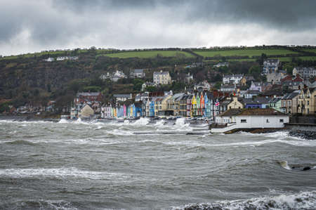 Winter storm hitting the seaside town of Whitehead in Northern Ireland