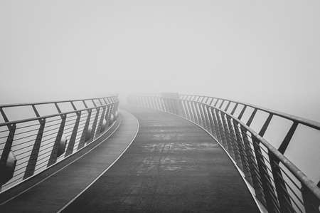 Fog covering the Peace Bridge in Derry Northern Ireland Stock fotó