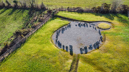 An aerial view of Drumskinney stone circle in County Fermanagh, Northern Ireland