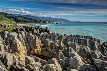 Pancake Rocks, Punakaiki, West Coast, Nieuw-Zeeland Stockfoto