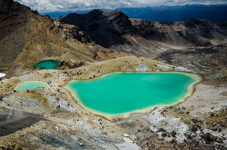 Emerald Lakes, Tongariro National Park, New Zealand  Tongariro track, north island  photo