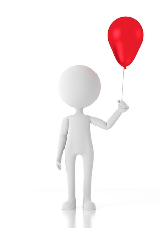 alone boy: 3d person child holding a red balloon