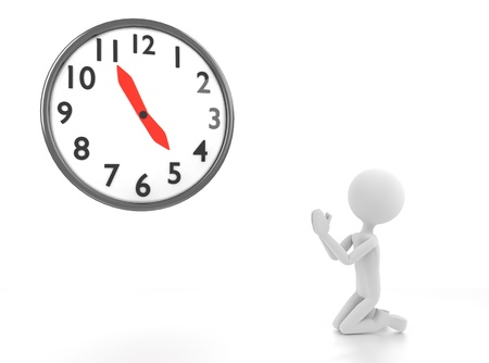 3d person begs for clock to reach 5 pm Stock Photo - 14736756