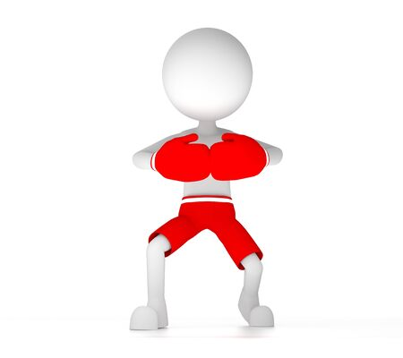 3d boxer person with red gloves and short pants in a threatning position. Stock Photo - 14736748