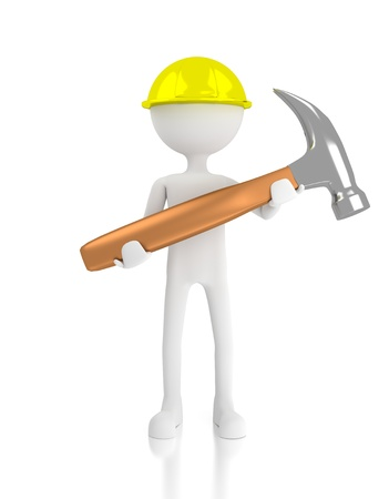 3d construction worker holding a hammer. 3d image render. Isolated white background.