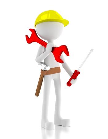 Travailleur de la construction 3d, porte une cl�, un tournevis et un marteau sur sa ceinture. Image 3d rendre. Isol� fond blanc. Banque d'images