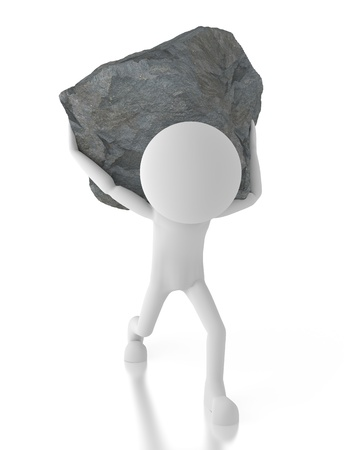 carry: 3d person carrying a big rock on his back.