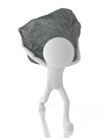3d persoon die een grote rots op zijn rug.