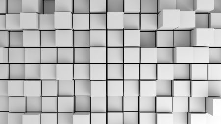 Abstract image of white cubes with different heights from above. Cubes texture. 3d image.