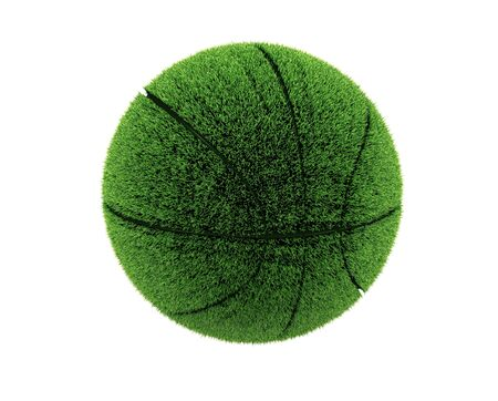 3d grass basketball. 3d grass ball. Recycle concept. photo