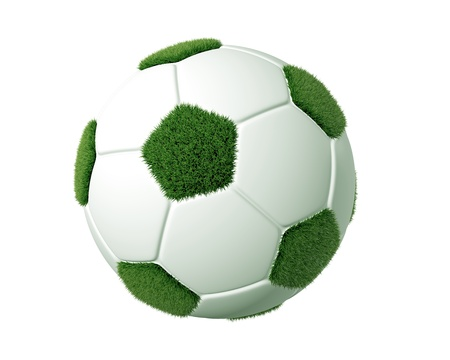 3d grass soccer ball. 3d render of a soccer ball with grass. Recycle concept. photo