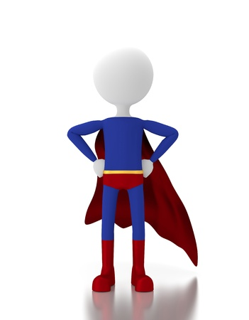 3d person in a super hero costume similar to superman. Stock Photo